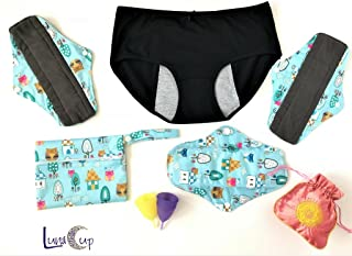 Luna Cup Period Starter Kit - 1 Small 1 Large Menstrual Cups, 1 Large Size Menstrual Panties, 3 Bamboo Charcoal Period Pads, 1 Small Wet Bag & 1 Pouch(8 PCS)