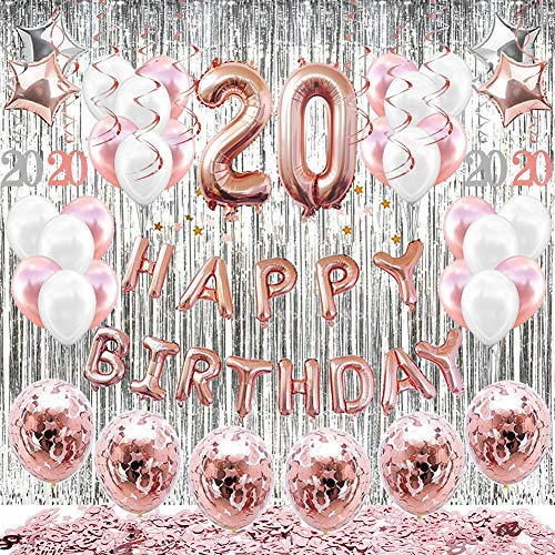HAPYCITY 20th Birthday Decorations Balloons (55pack)Rose Gold 20 Balloons Number Happy 20 Party Supplies for Her-Perfect for Birthday Party