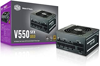 Cooler Master V550 SFX Gold Full Modular, 550W, 80+ Gold Efficiency, ATX Bracket Included, Quiet FDB Fan, Semi-fanless Ope...