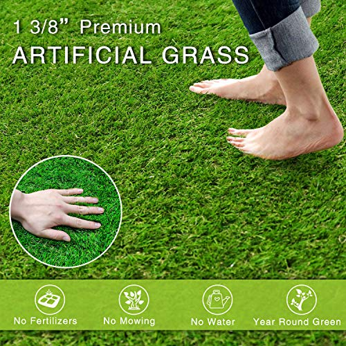 Artificial Grass Turf Realistic Fake Grass Synthetic Thick Lawn Grass Mat Pet Turf Outdoor Garden Landscape (13ft x 25ft (325 Square ft))