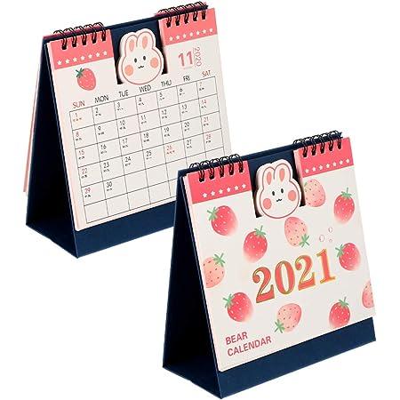 Amazon Com Tomaibaby 2pcs Desk Calendar 2021 2022 Desktop Flip Calendar Coil Spiral Table Easel Standing Desktop Calendars Monthly Pages Strawberry Bunny For Living Room Office Strawberry Bunny Office Products