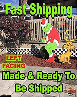 Grinch Stealing Christmas Lights & Max The Dog LEFT Facing Grinch Yard Art FAST SHIPPING