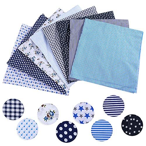 papasgix 8 Stück Set Baumwollstoff Meterware Stoffe zum Nähen Patchwork Stoffpaket Baumwolle DIY Baumwolltuch je 50 cm x 50 cm (Blau 8PC)
