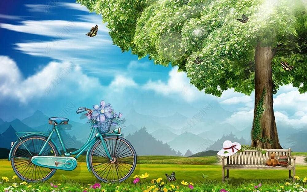 Wall Ranking TOP10 Murals Wallpaper Blue Sky White Tree Big Green Popular standard Bicyc Clouds