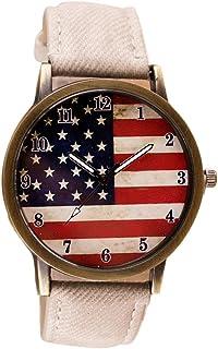 b19bc70b9759 Vintage Vogue American Flag pattern Ninasill Leather Quartz Analog Canvas Strap  Watch(White)
