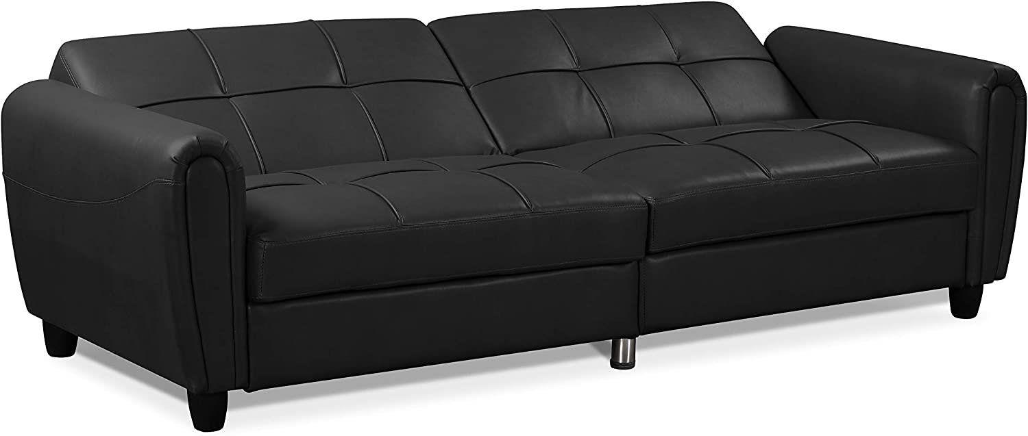 Visco Therapy Zinc PU Leather 3STR Sofa Bed with Storage Grey, 2 Seater 2STR Sofa Bed with Storage and Ottoman Bench in Grey or Black Living Room Furniture Set.