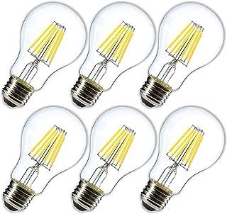 LEDフィラメント電球 6W 4000K(デイライト)調光器非対応600lm、60W相当e26Mediumベース、LED エジソンランプ、A60クリアガラスグローブ形状、6パック(2年の保証)