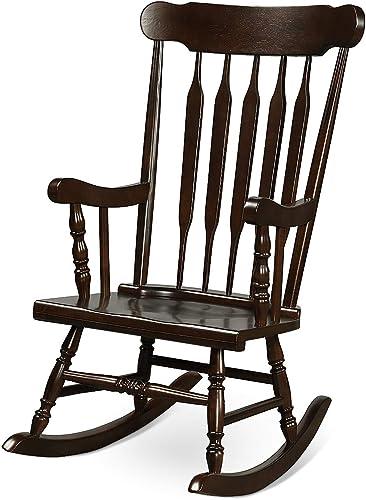 new arrival Giantex online Rocking Chair Solid Wooden Frame Outdoor & Indoor Rocker for Garden, Patio, Balcony, online Backyard Porch Rocker (1, Dark Coffee) online sale