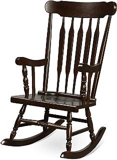 Giantex Rocking Chair Solid Wooden Frame Outdoor & Indoor Rocker for Garden, Patio, Balcony, Backyard Porch Rocker (1, Dar...