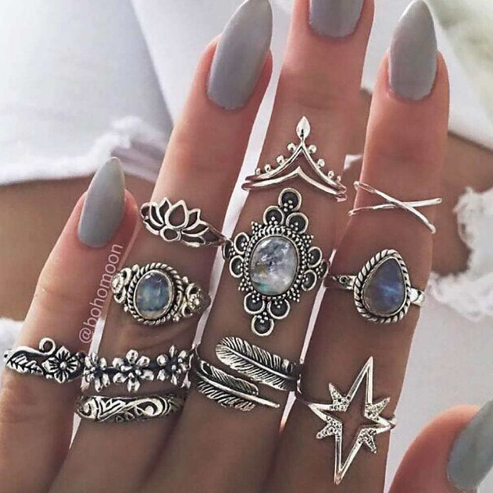 Missgrace Vintage Boho Rings Crystal Rhinestones Joint Knuckle Stackable Ring Set with Cresent Punk Snake Stacking Midi Finger Rings for Women and Girls (Style 4)