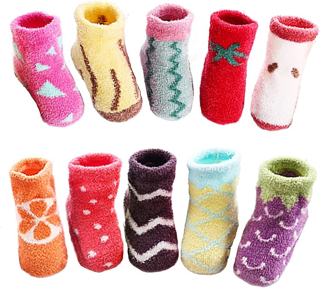 Toddler Kids Slipper Fuzzy Cozy Socks with Grips Baby Girls Boys Cozy Fluffy Non Slip Novetly Cute Fruit Winter Socks