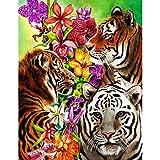 SINACO 5D - Kit de pintura de diamantes circulares para adultos, decoración artística, tigre y flor, 11,8 x 15,7 en 1
