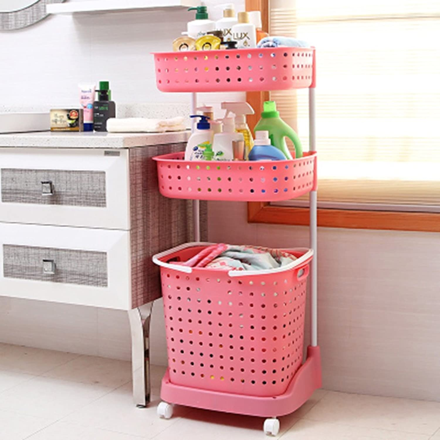 Cpp Shelf Bathroom Bathroom Shelves Placement Bathroom with Storage Rack Toilet Shelves (color   Pink)