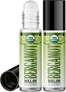 Organic Bergamot Roll On Essential Oil Rollerball (2 Pack - USDA Certified Organic) Pre-diluted with Glass Roller Ball for Aromatherapy, Kids, Children, Adults Topical Skin Application - 10ml Bottle