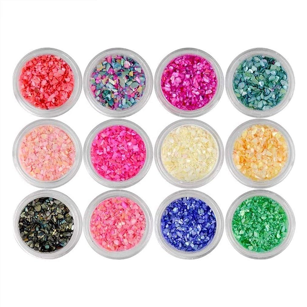 考慮端特にLurrose 12ピースネイルアートスパンコールマニキュア虹色フレーク用女性女の子レディ(混合色)