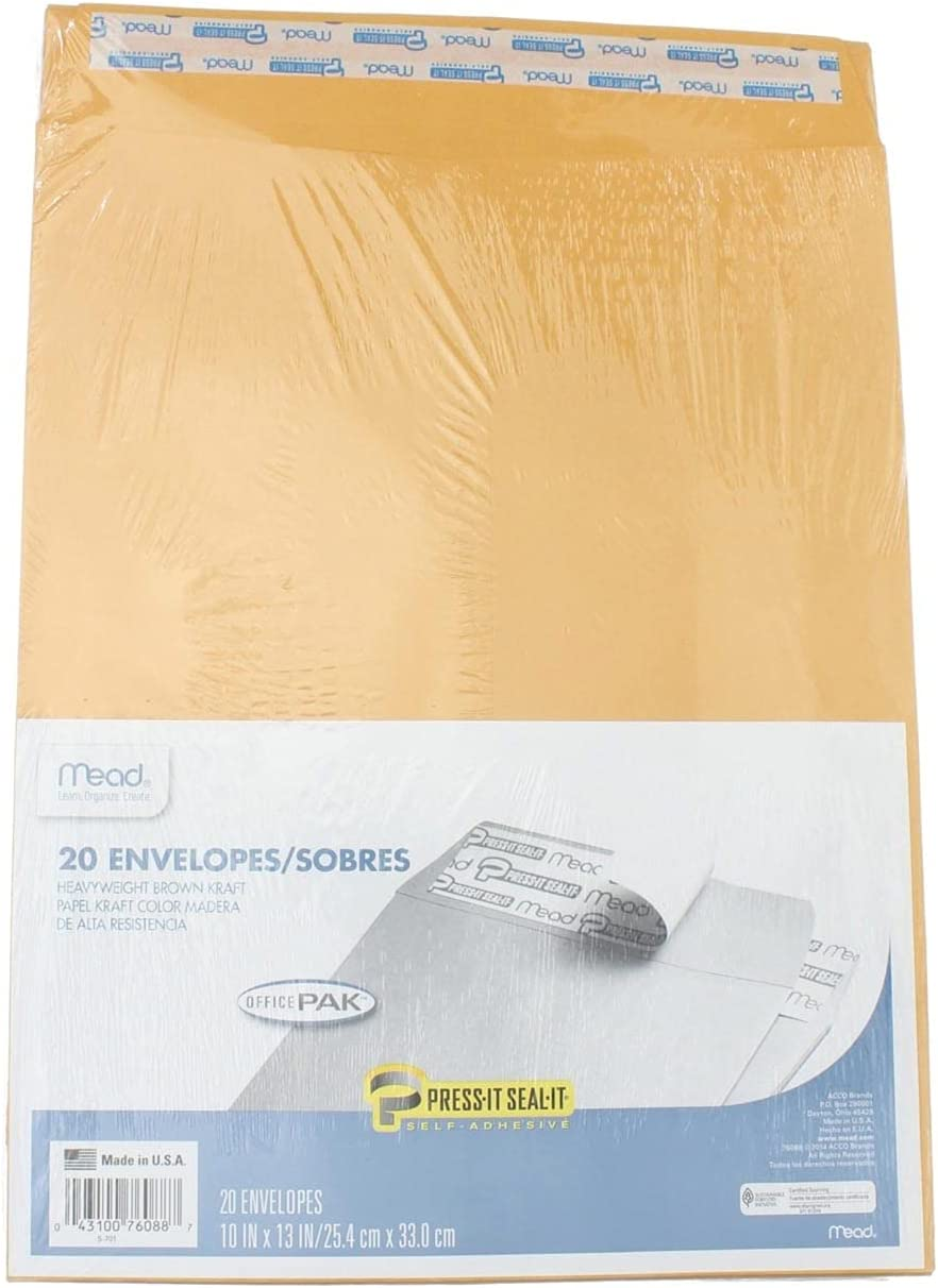 Mead Press-It Seal-It Envelopes 10 x New York Mall 20 Office Selling 13 Inches Pack