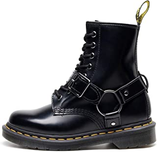 Dr. Martin unisex boots leather round toe boots trend locomotive ankle shoes high-top thick sole leather boots black wear-resistant boots eight-hole lace-up booties boots (Color : Black, Size : 40)