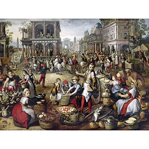 Bueckelaer Marketplace Flagellation Ecco Homo Large Wall Art Poster Print Thick Paper 18X24 Inch Markt Flagge Wand Poster drucken