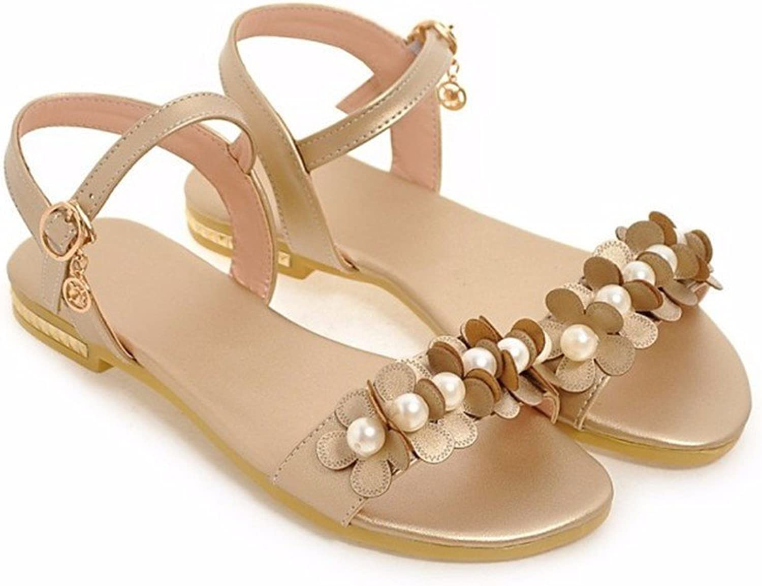 Summer flowers with Pearl flat sandals flat sandals girls with large numbers of students flat footwear-YU&XIN