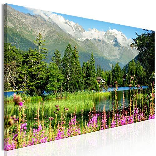 murando Impression sur Toile intissee Montagne 135x45 cm 1 Piece Tableau Tableaux Decoration Murale Photo Image Artistique Photographie Graphique Paysage Nature Alpes c-B-0531-b-a