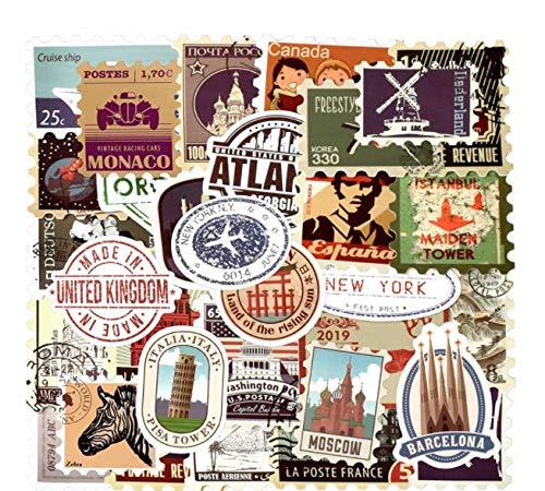 Retro Stamp Sticker Stickers Diy Luggage Laptop Travel Case Guitar Fridge 50 Pcs