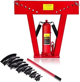 Goplus 12 Ton Heavy Duty Hydraulic Tube Bender 180 Degree Tubing Metal Steel Iron Exhaust Pipe Bending W/ 6 Dies (RED)