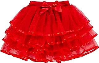 storeofbaby Little Big Girls Tutu Skirt 4-Layered Tulle Holiday Party Dress Up Skirts 2-13 Years