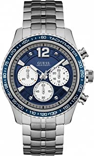 Guess Men's Blue Dial Stainless Steel Band Watch - GUE_W0969G1