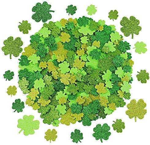 240 Pcs 3 Sizes 4 Colors Glitter Foam Shamrock Stickers Lucky Irish Four Leaf Clover Stickers product image