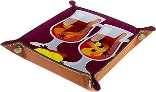 FCZ Plateau de rangement en cuir vin chaud pour chevet, bureau, boîte de rangement pour bijoux, clés, portefeuille, pièces...