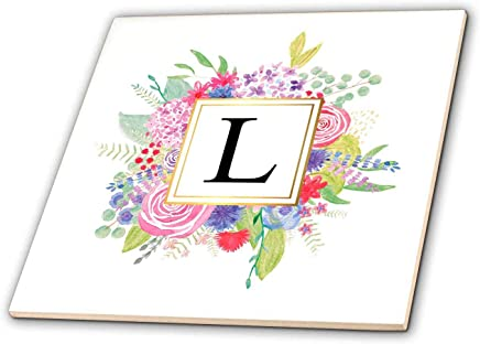 3dRose InspirationzStore - Monograms - 花卉字母 L 水彩粉花交织字母个人首字母 L - 瓷砖 (ct_316362) 白色 4-Inch-Ceramic ct_316362_1