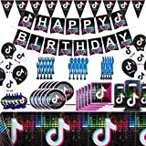 Set of 112Pcs Tik Tok Party Decorations and Birthday Supplies Includes Balloons Kit Gags Plates and Napkins package for Girls 7 8 9 10th 11th 12 Boys