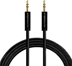 Amplesource 3.5mm Black Nylon Braided Audio Aux Cable (4ft / 1.2m, 2-pack) for headphones, iPods, iPhones, iPads and car stereos