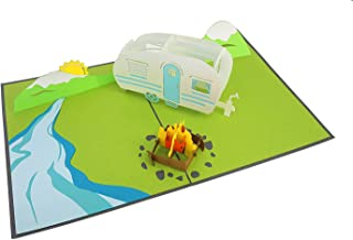 PopLife Camping Trip 3D Pop Up Fathers Day Card - Dad Gift, Camping Birthday, Retirement, Popup Father's Day Card - Fold Flat for Mailing - Mountain Card, RV Gift, National Park - for Husband, for Son