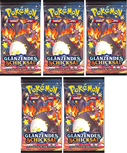 Pokemon 5 Booster Glänzendes Schicksal Sammelkarten | DEUTSCH | Schwert & Schild Karten Serie | inklusive 50 Soft Card Sleeves