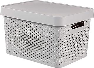 CURVER 04742-099-00 Boîte à Rangement Infinity Points avec Couvercle 17L en Gris Clair, Plastique, 36,3x27x22,2 cm