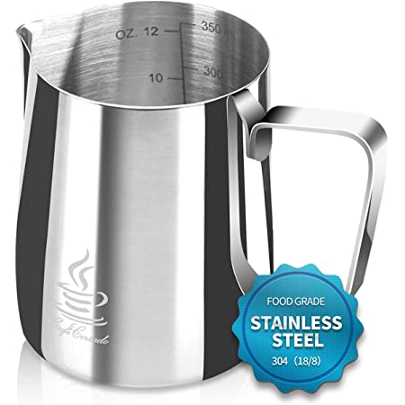Milk Frothing Pitcher Stainless Steel 304, 12 oz/20oz (350ml/600ml) Espresso Steaming Pitcher with Tick Mark   Decorating Art Pen   16PCS Coffee Decorating Stencils for Cappuccino y Latte, by FlamGen