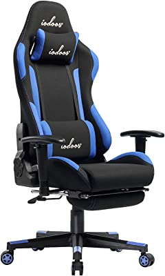 IODOOS ゲーミングチェア オットマン付き gaming chair オフィスチェア ゲーム用チェア 180度リクライニング 通気性抜群 耐荷重120kg 布製(ブルー)01BBA