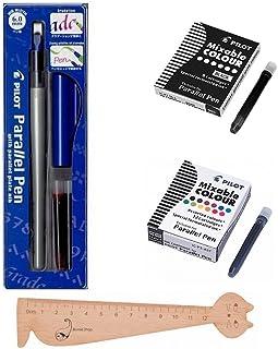 Lot Pilot Parallel Pen 6,0mm + 1caja de 12cartuchos de tinta, varios colores + 1caja 6cartuchos negras + 1regla marcapáginas en madera blumie