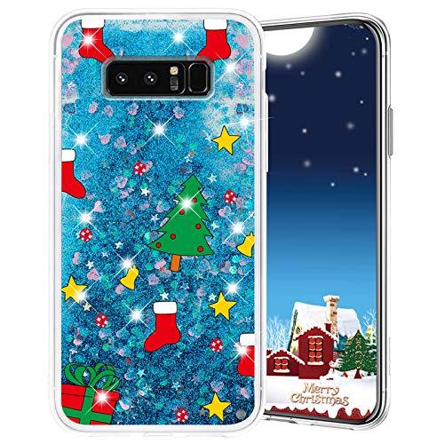 Misstars Weihnachten Handyhülle für Galaxy Note 8, 3D Kreativ Glitzer Flüssig Transparent Weich Silikon TPU Bumper mit Weihnachtsbaum Muster Design Anti-kratzt Schutzhülle für Samsung Galaxy Note 8