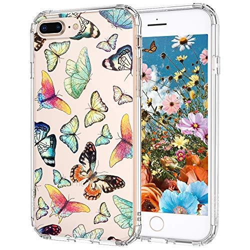 MOSNOVO Cover iPhone 8 Plus, Cover iPhone 7 Plus, Farfalla Trasparente con Disegni TPU Bumper con Protettiva Custodia per iPhone 7 Plus/iPhone 8 Plus (Farfalla)