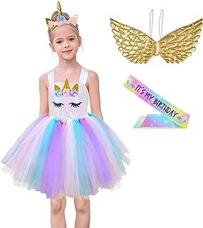 Girls Sequin Unicorn Tutu Dress Princess Birthday Party Halloween Unicorn Costume with Headband, Wings and Sash