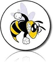 "Custom & Decorative {1.2"" Inch} 48 Piece Pack of Mid-Size Stickers for Arts, Crafts & Scrapbooking w/ Angry Cartoon Yellow Jacket Wasp Bee Style {Yellow, White, & Black}"