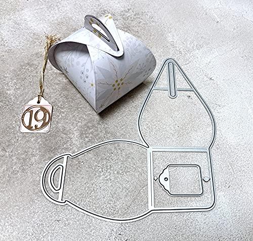 Simplelettering Stanzschablone Cutting Dies Box Pralinenschachtel, Grundfläche Box 5x5 cm, Stanzschablone ist 14x15 cm, 2-TLG.