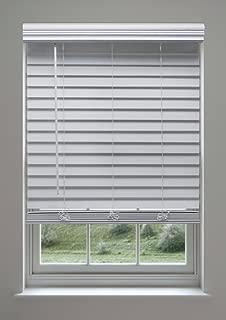 Linen Avenue Custom Cordless Faux Wood Blind White 58 W x 36 to 40 H Inside Mount