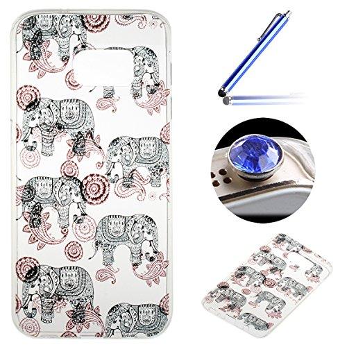 Samsung Galaxy S7 Coque, Etsue pour Samsung Galaxy S7 Vogue Gel Housse étui de téléphone mobile ,TPU Silicone Matériau Transparente Ultra Mince Supérieur Semi Transparent Doux Coque [éléphant] Motif pour Samsung Galaxy S7 + Gratuit 1 x Bleu stylet + 1 x Bling poussière plug (couleurs aléatoires)