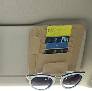ZATOOTO Car Visor Organizer Sun Shade Card Storage Holder Pouch Bag Glasses Holder Storage (Beige)