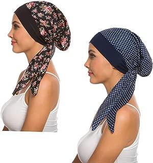 2Pack Women's Head Scarf Chemo Cancer Hat Cap Sleep Turban Head Wraps Headwear (Black+Blue)