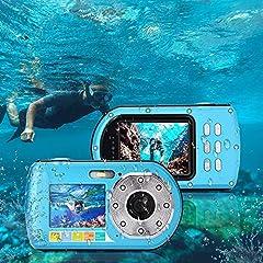 Caméra sous-marine, appareil photo numérique 1080P FHD 16-zoom numérique Magnétoscope Selfie Dual Screen Caméscope étanche Petit appareil photo numérique de l'étudiant jeunesse caméra de sport sous-marine