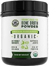 Organic Grass Fed Beef Bone Broth Protein Powder - 16oz, 20 Servings. Unflavored, Pure. Keto Friendly Protein Powder. Paleo, USDA Certified Organic, Left Coast Performance